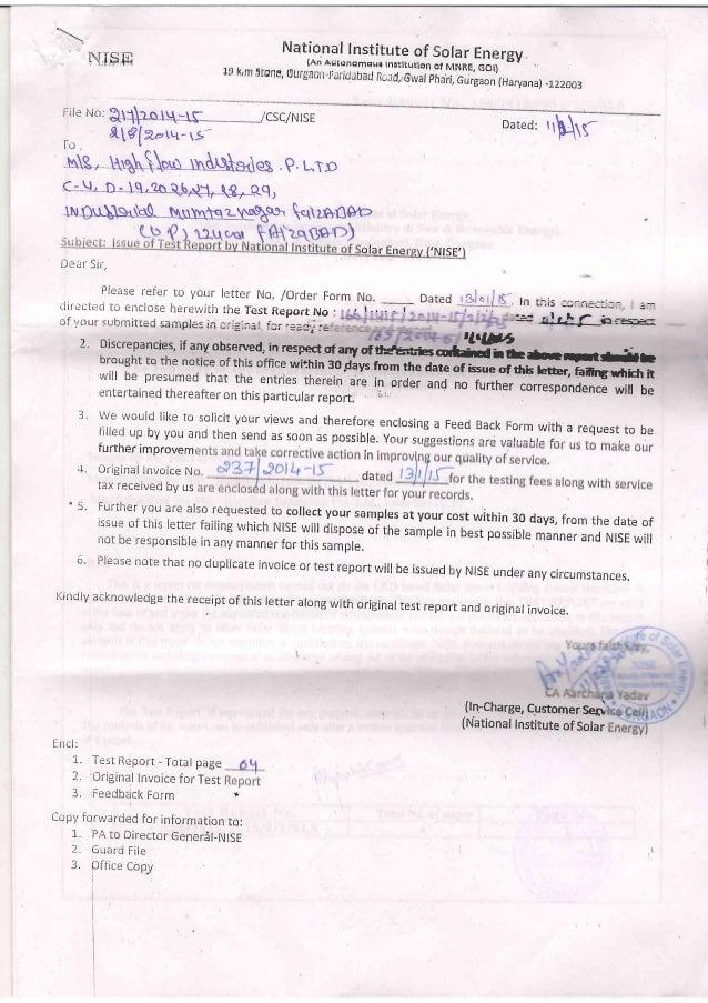 Mnre Certificate Of Solar Street Light