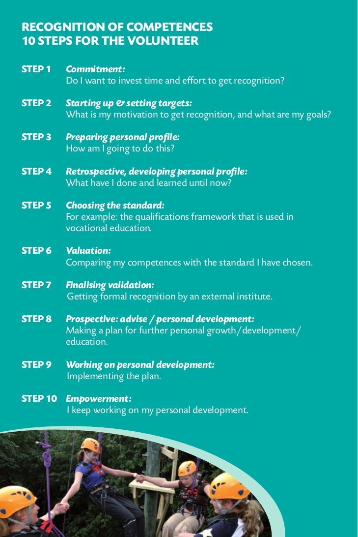 Recognition of competences10 steps for the volunteerStep 1   Commitment:         Do I want to invest time and effort to ...