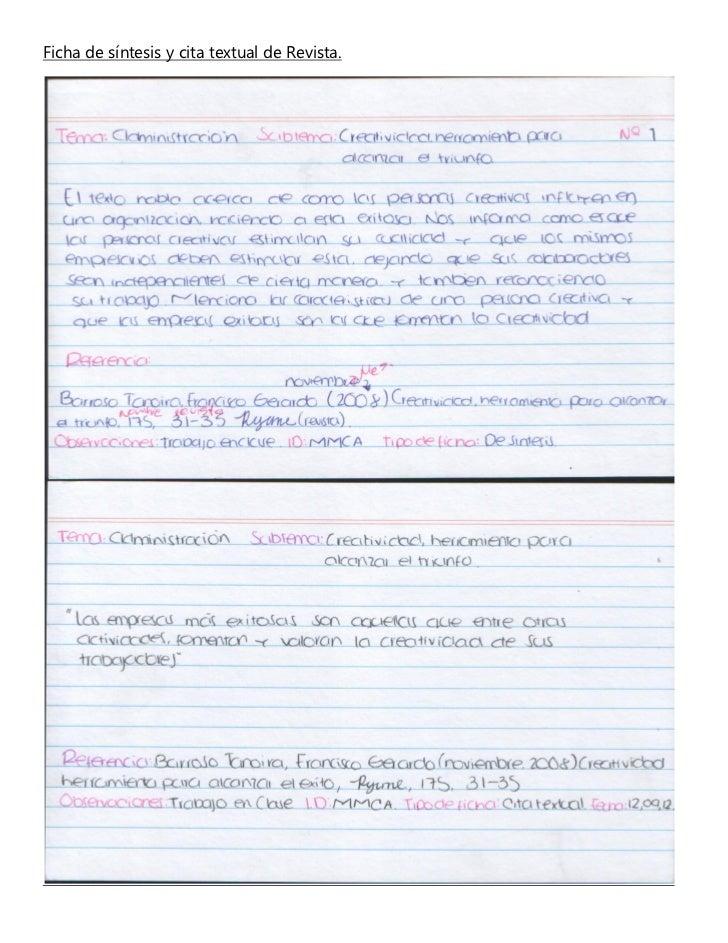 Ficha de síntesis y cita textual de Revista.