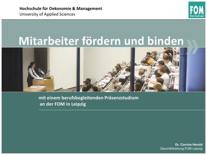 Hochschule für Oekonomie & ManagementUniversity of Applied SciencesMitarbeiter fördern und binden        mit einem berufsb...