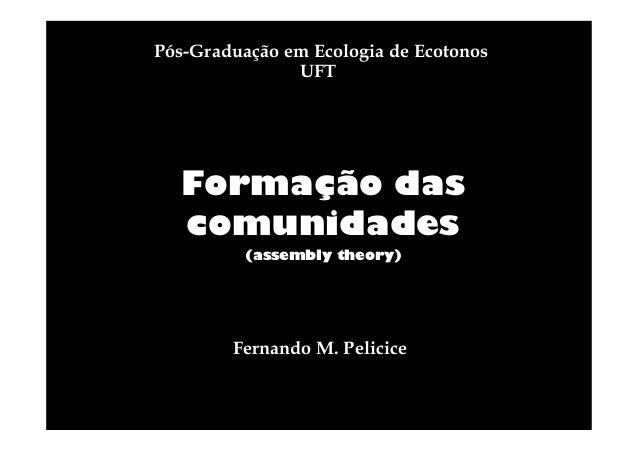 Pós-Graduação em Ecologia de Ecotonos UFT  Formação das comunidades (assembly theory)  Fernando M. Pelicice