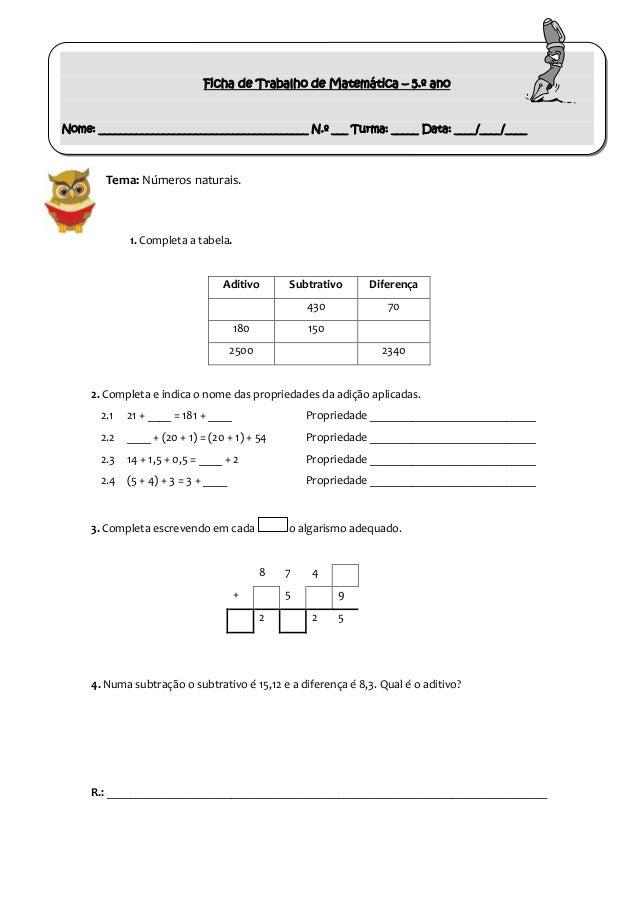 Ficha de Trabalho de Matemática – 5.º ano  Nome: _______________________________________ N.º ___ Turma: _____ Data: ____/_...