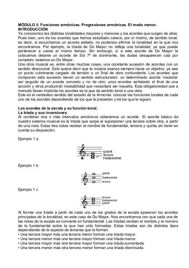 MÓDULO 5. Funciones armónicas. Progresiones armónicas. El modo menor. INTRODUCCIÓN Ya conocemos las distintas tonalidades ...