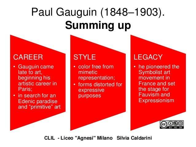 Paul Gauguin (1848–1903). Summing up CAREER • Gauguin came late to art, beginning his artistic career in Paris; • in searc...
