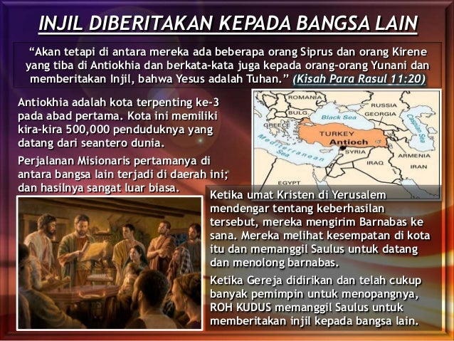 """INJIL DIBERITAKAN KEPADA BANGSA LAIN """"Akan tetapi di antara mereka ada beberapa orang Siprus dan orang Kirene yang tiba di..."""