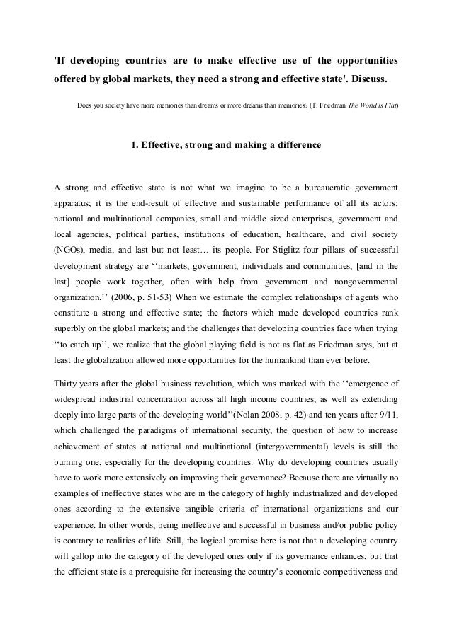 globalization essay the role of state the university of cambridge  2 if developing countries