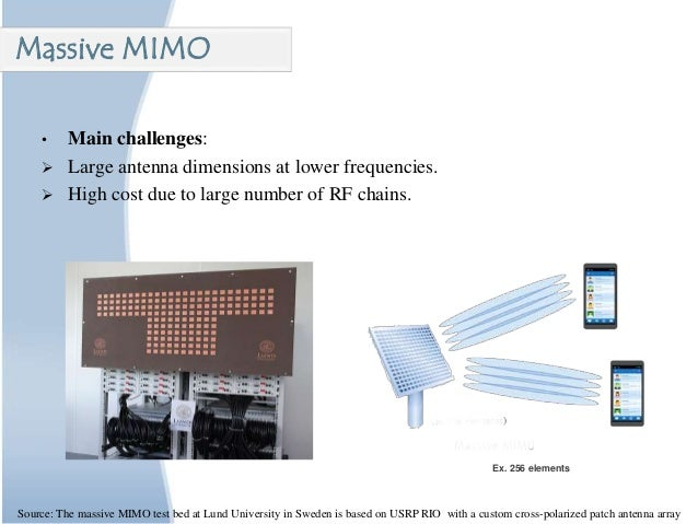 • Main challenges:  Large antenna dimensions at lower frequencies.  High cost due to large number of RF chains. Massive ...
