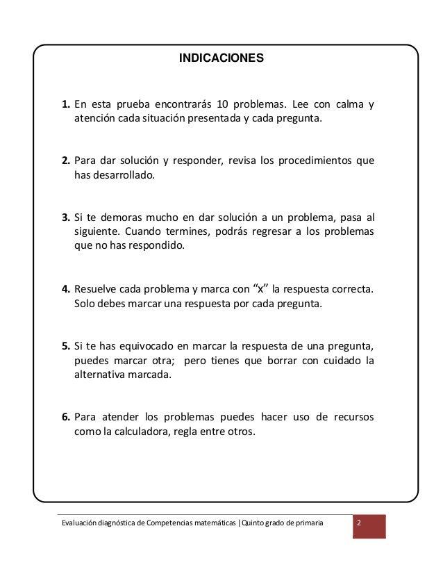 5° grado evaluación diagnóstica MATEMÁTICA.