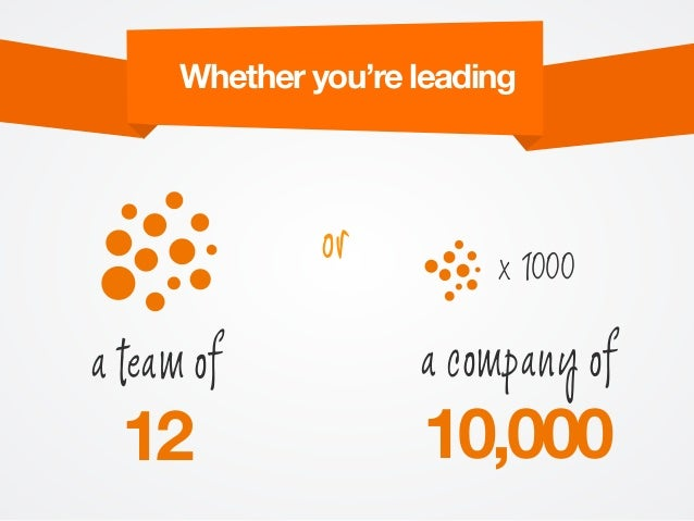 a team of 12 a company of 10,000 or x 1000 Whether you're leading