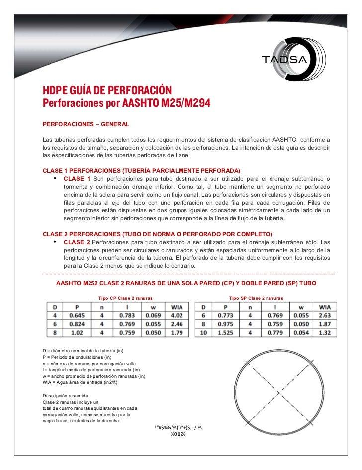 HDPE GUÍA DE PERFORACIÓNPerforaciones por AASHTO M25/M294PERFORACIONES – GENERALLas tuberías perforadas cumplen todos los ...