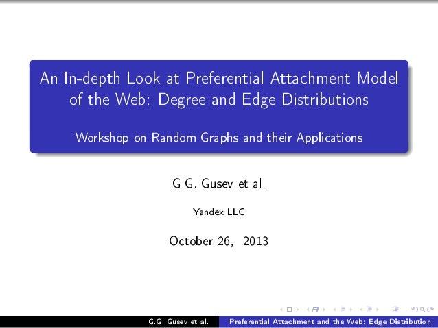 en snEdepth vook —t €referenti—l ett—™hment wodel of the ‡e˜X hegree —nd idge histri˜utions Workshop on Random Graphs and ...