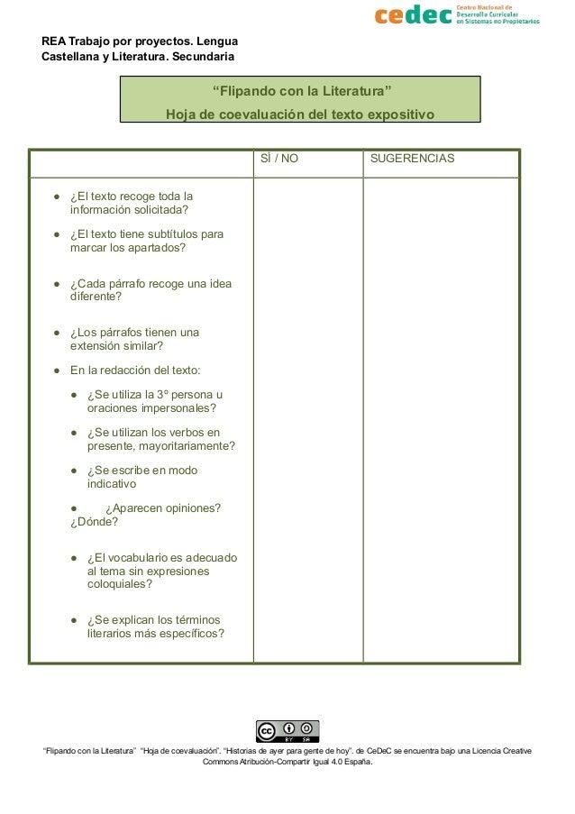 """REA Trabajo por proyectos. Lengua Castellana y Literatura. Secundaria """"Flipando con la Literatura"""" Hoja de coevaluación de..."""