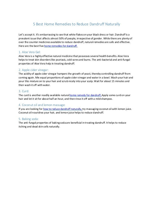 5 home remedies to reduce dandruff