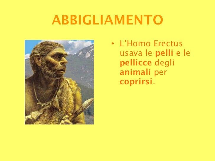 <ul><li>L'Homo Erectus usava le  pelli  e le  pellicce  degli  animali  per  coprirsi . </li></ul>ABBIGLIAMENTO