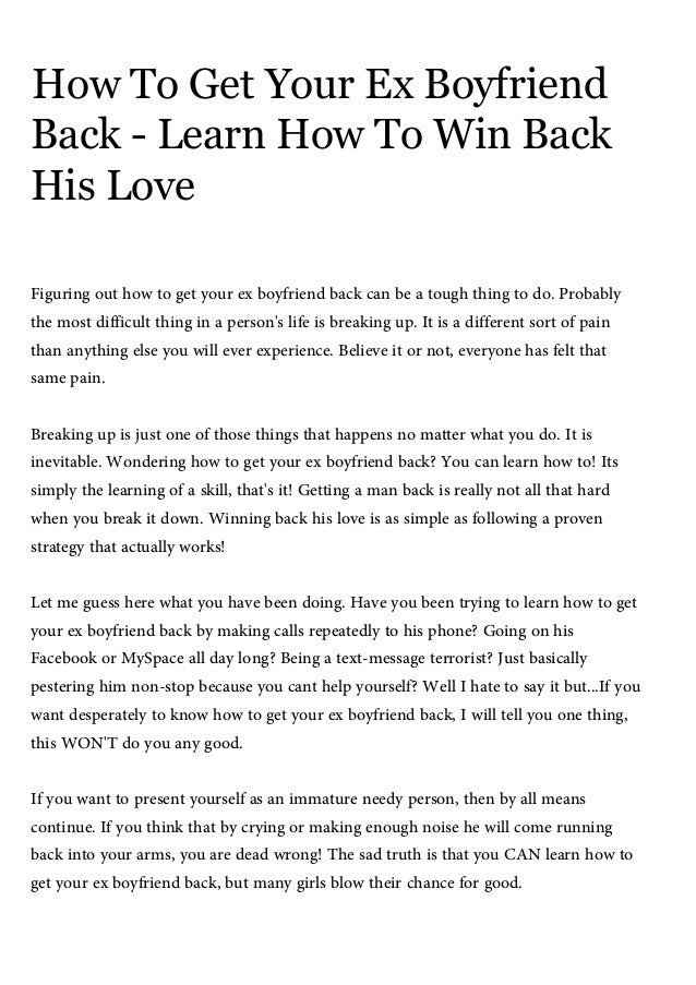 How to get the man you love back in your life