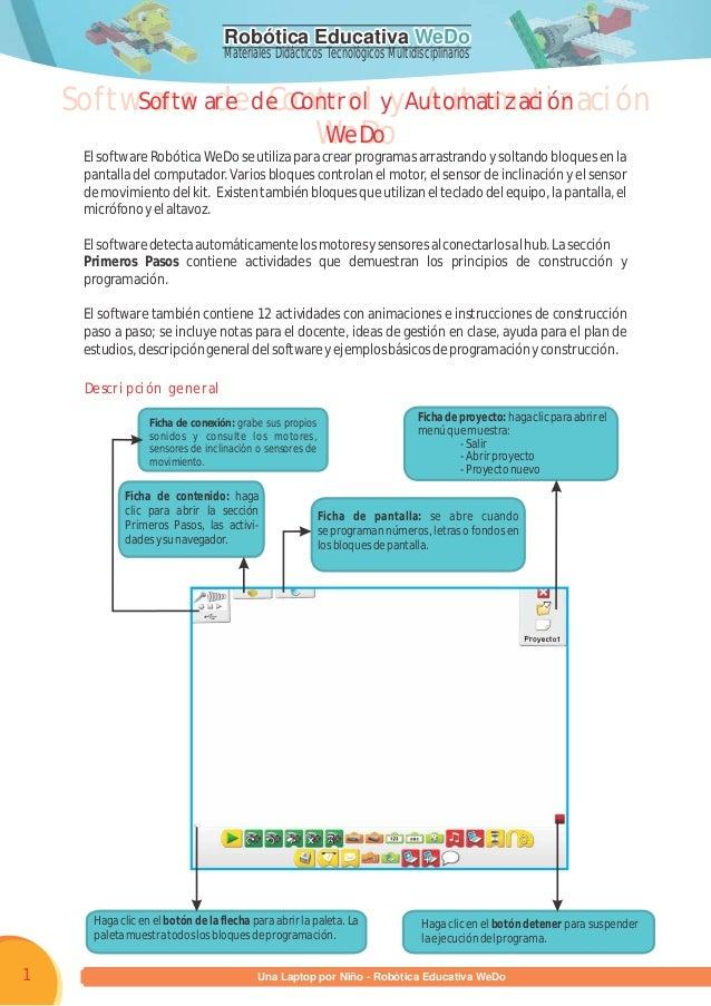 Robótica Educativa WeDoRobótica Educativa WeDo Materiales Didácticos Tecnológicos Multidisciplinarios Programa una Laptop ...