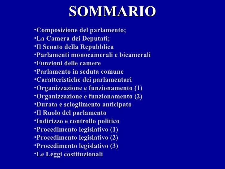Il sistema legislativo italiano for Composizione parlamento italiano