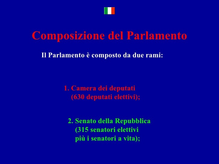 Il sistema legislativo italiano for Le due camere del parlamento