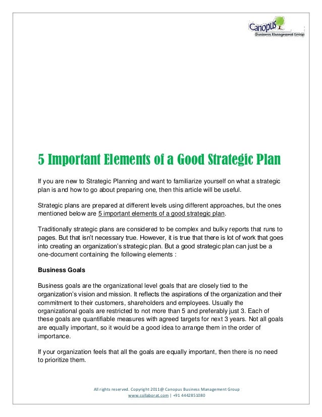 5 Important Skin Care Tips For Girls: 5 Important Elements Of A Good Strategic Plan