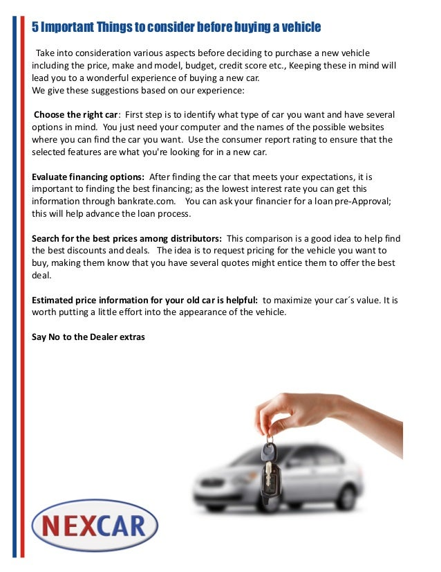 5 Important Things to consider before buying a vehicle Take into consideration various aspects before deciding to purchase...