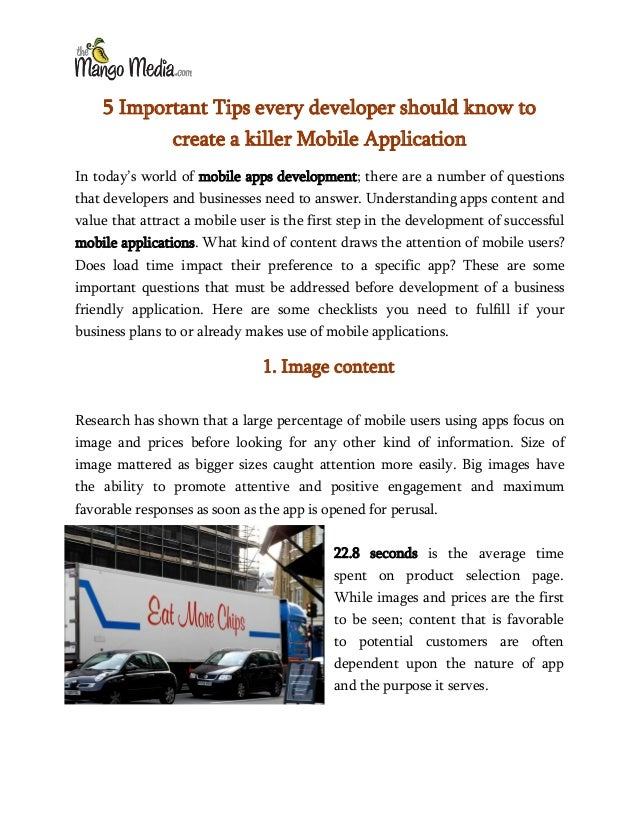 5 Important Tips every developer should know to create a killer Mobile Application In today's world of mobile apps develop...