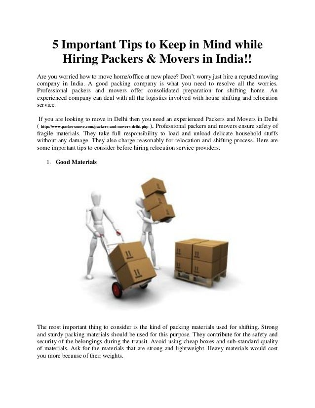 Hiring Movers 5 important tips to keep in mind while hiring packers & movers in ind…