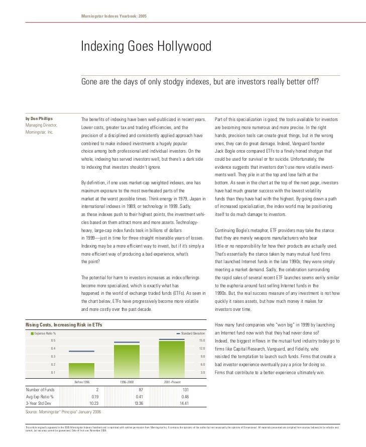 Morningstar Indexes Yearbook: 2005                                                     Indexing Goes Hollywood            ...