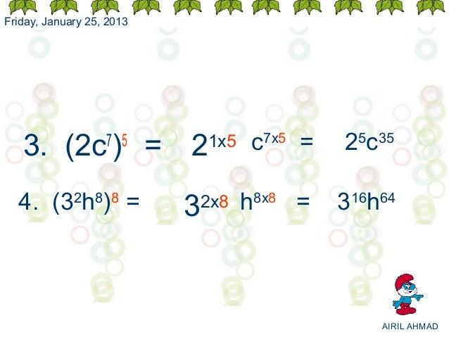 Friday, January 25, 2013   3. (2c ) =      7 5                           2   1x5   c7x5 =   25c35  4. (32h8)8 =           ...