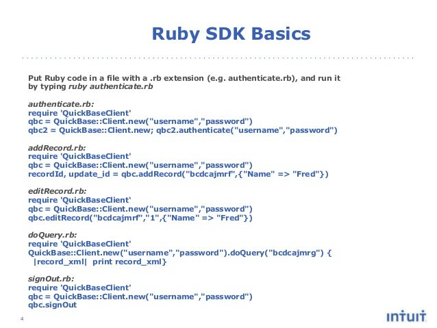 4 Put Ruby code in a file with a .rb extension (e.g. authenticate.rb), and run it by typing ruby authenticate.rb authentic...