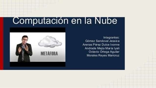 Computación en la Nube Integrantes: Gómez Sandoval Jessica Arenas Pérez Dulce Ivonne Andrade Mejía María Iyali Octavio Ort...