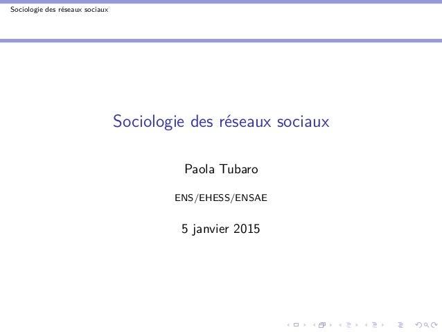 Sociologie des réseaux sociaux Sociologie des réseaux sociaux Paola Tubaro ENS/EHESS/ENSAE 5 janvier 2015