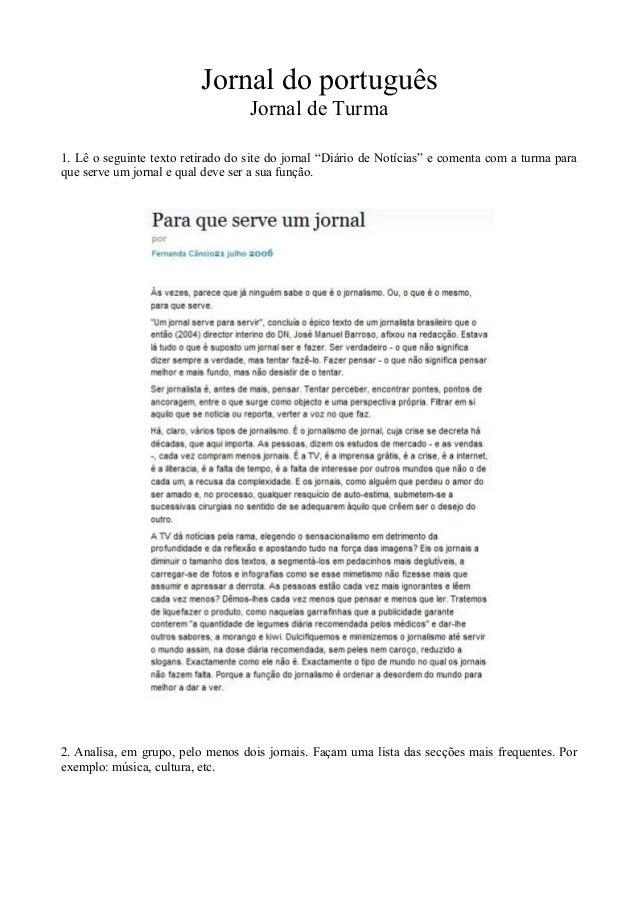 """Jornal do portuguêsJornal de Turma1. Lê o seguinte texto retirado do site do jornal """"Diário de Notícias"""" e comenta com a t..."""