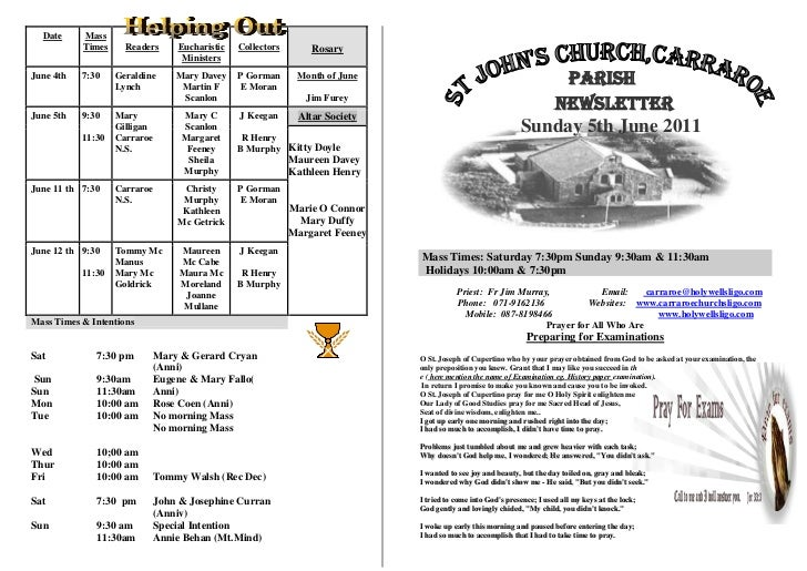 Date     Mass           Times     Readers   Eucharistic   Collectors       Rosary                                Ministers...