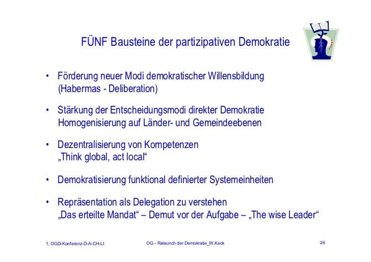 FÜNF Bausteine der partizipativen Demokratie• Förderung neuer Modi demokratischer Willensbildung  (Habermas - Deliberation...