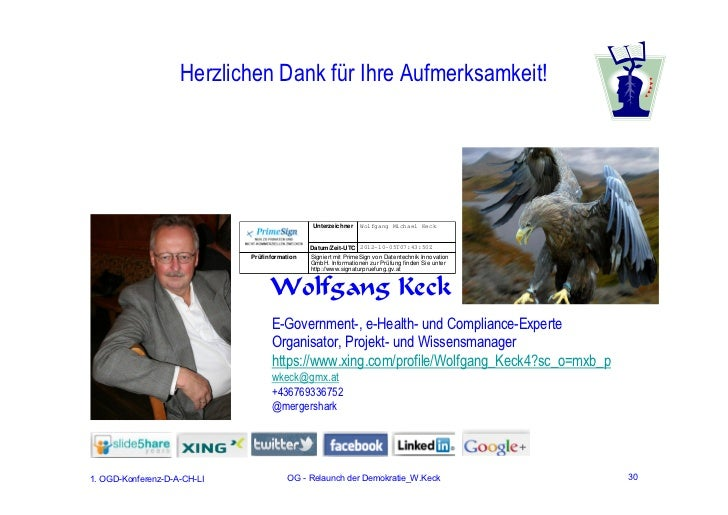 Herzlichen Dank für Ihre Aufmerksamkeit!                                               Unterzeichner    Wolfgang Michael K...