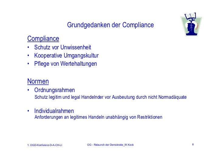 Grundgedanken der ComplianceCompliance• Schutz vor Unwissenheit• Kooperative Umgangskultur• Pflege von WertehaltungenNorme...