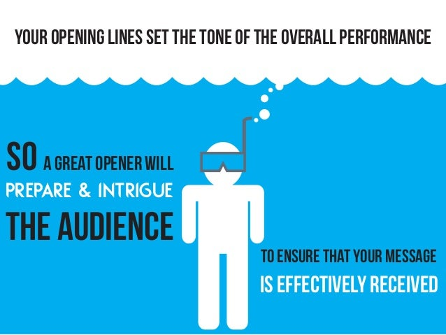 your opening lines set the tone of the overall performance so a great opener will prepare & intrigue the audience to ensur...