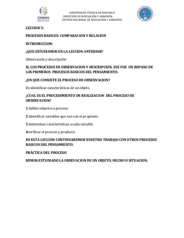UNIVERSIDAD TÉCNICA DE MACHALA DIRECCIÓN DE NIVELACIÓN Y ADMISIÓN SISTEMA NACIONAL DE NIVELACIÓN Y ADMISIÓN  LECCION 5: PR...