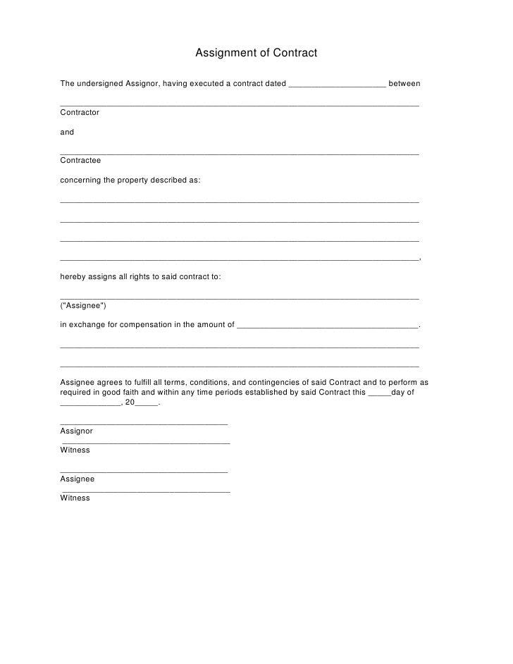 Real Estate Assignment Contract Form Tekil Lessecretsdeparis Co