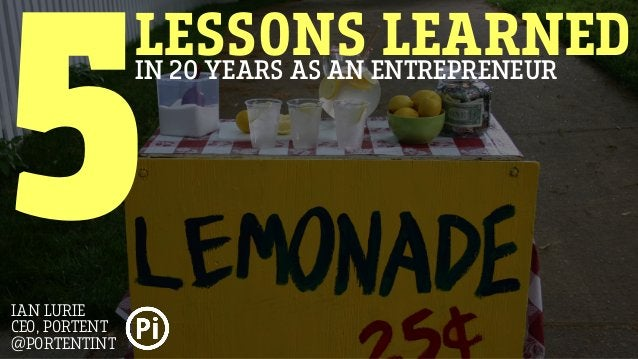 LESSONS LEARNEDIN 20 YEARS AS AN ENTREPRENEUR 5IAN LURIE CEO, PORTENT @PORTENTINT