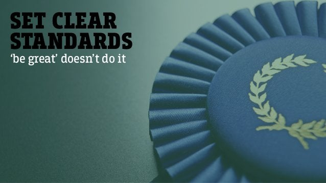 SET CLEAR STANDARDS 'be great' doesn't do it