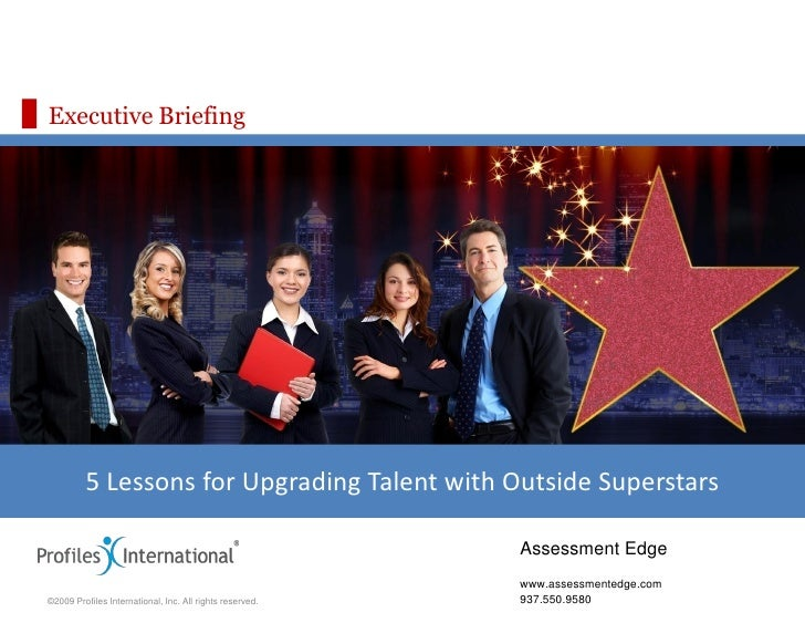 Executive Briefing              5 Lessons for Upgrading Talent with Outside Superstars                                    ...