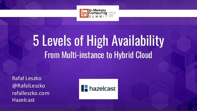 5 Levels of High Availability From Multi-instance to Hybrid Cloud Rafał Leszko @RafalLeszko rafalleszko.com Hazelcast