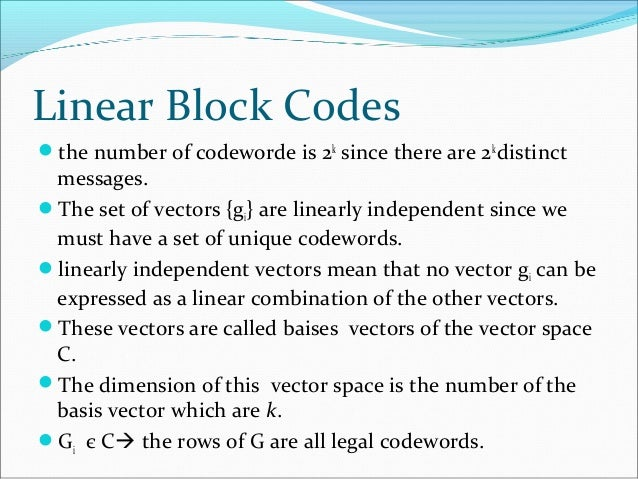 linear block codes Lezione 11 del corso elearning di digital communication prof luigi paura  università di napoli federico ii argomenti trattati: linear block codes.