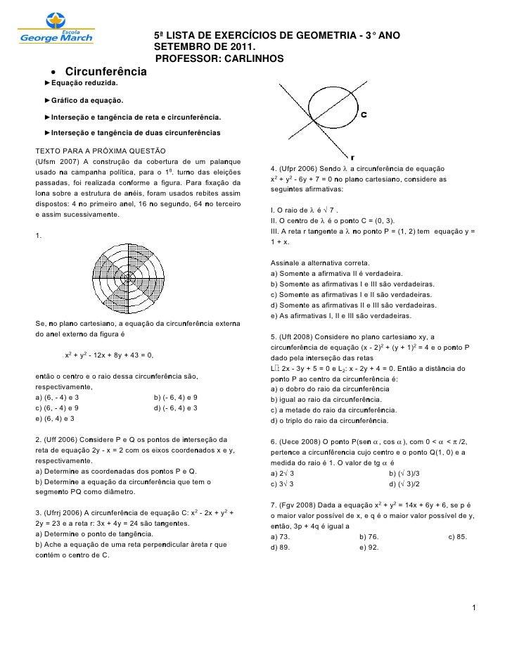 5ª LISTA DE EXERCÍCIOS DE GEOMETRIA - 3° ANO                                         SETEMBRO DE 2011.                    ...