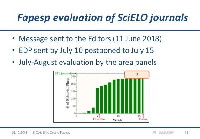 Fapesp evaluation of SciELO journals 09/10/2018 13© C.H. Brito Cruz e Fapesp • Message sent to the Editors (11 June 2018) ...