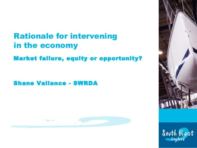 Rationale for intervening in the economy Market failure, equity or opportunity? Shane Vallance - SWRDA