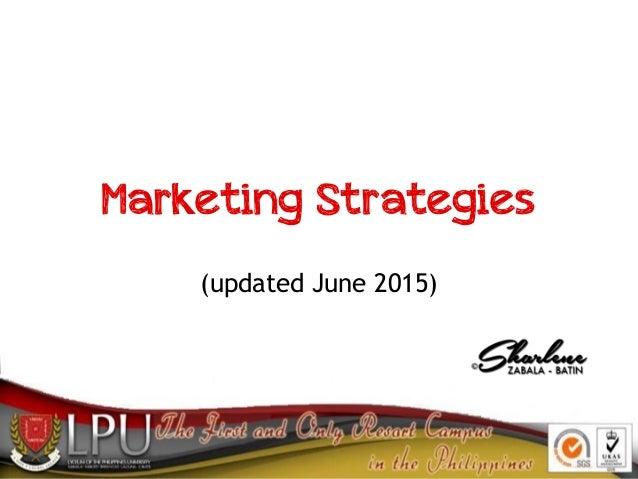 Marketing Strategies (updated June 2015)