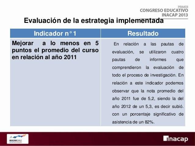 Indicador n° 2  Resultado 3. Análisis de las expectativas académicas de  Generación a lo menos de 4 planes de acción para ...