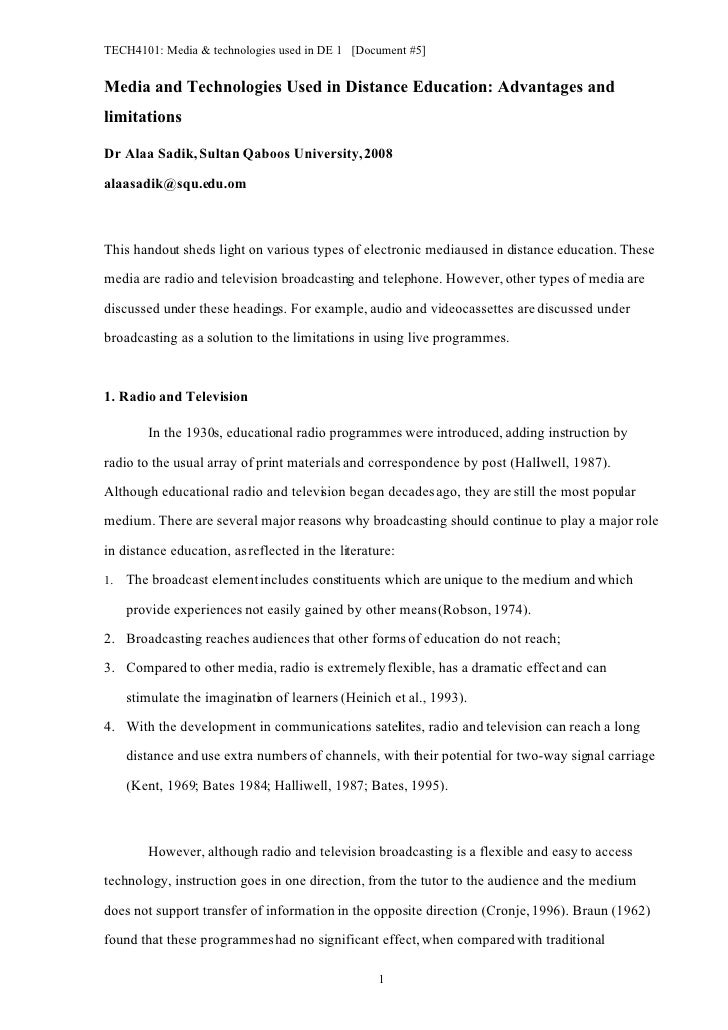 TECH4101: Media & technologies used in DE 1 [Document #5]   Media and Technologies Used in Distance Education: Advantages ...